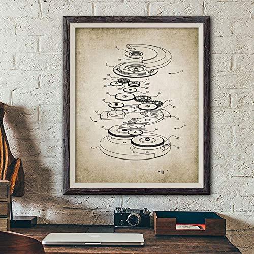 Leinwandmalerei Automatikuhr Uhr Schaltplan Drucke Uhr Design Patent Vintage Poster Uhrmacher Geschenk Uhr Kunst Leinwand Malerei Bild Dekor 60x90cm