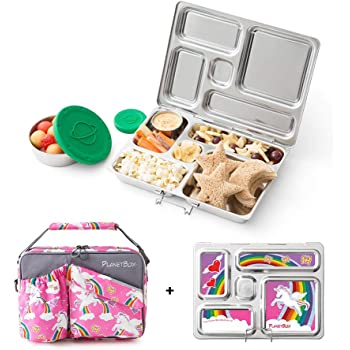 PlanetBox ROVER Eco-Friendly Stainless Steel Bento Lunch Box with 5 Compartments for Adults and Kids - Rainbow Carry Bag with Rainbow Magnets