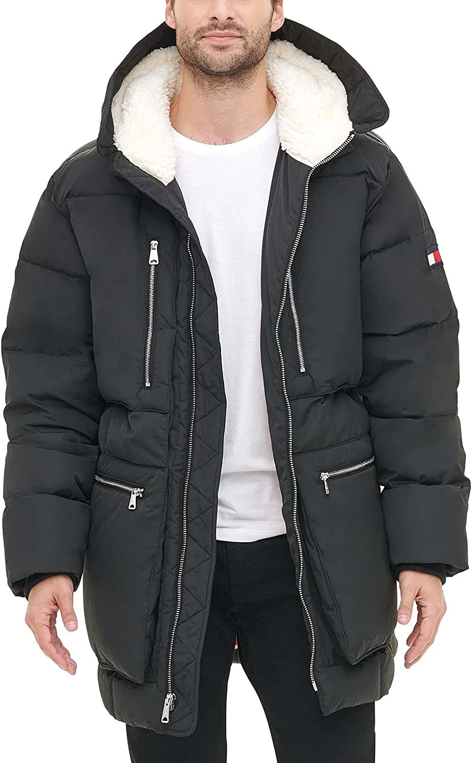 Tommy Hilfiger Men's Heavyweight Quilted Sherpa Hooded Parka