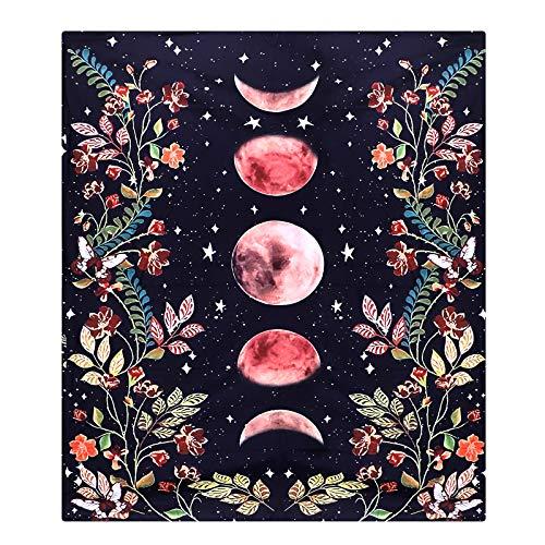 CNNIK Tapisserie Jardin au Clair Lune, Tapisseries de Phase de Lune, Tapisserie de Vigne de Fleur Fond Noir, Mystérieuse Tapisserie Esthétique pour Chambre Salon Dortoir Décoration, 130 * 150cm