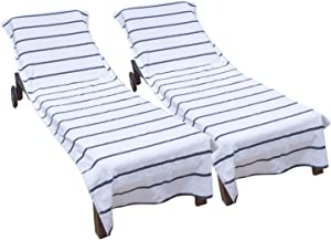 Arkwright Pool Chair Covers (Oversized:30x85 Inch, 2-Pack), Cotton Chaise Lounge Cover with 8 Inch Deep Pocket to Fit Any Beach Chair (Dark Grey)