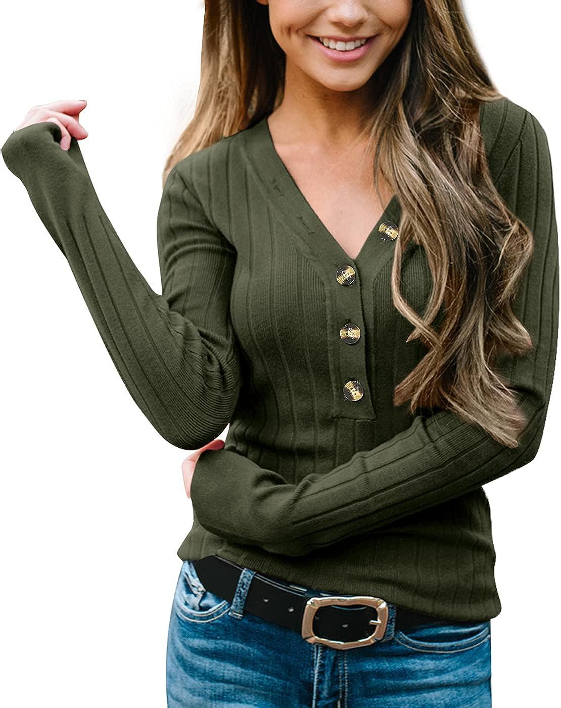 Spadehill Women's V Neck Button Up Long Sleeve Knit Sweater