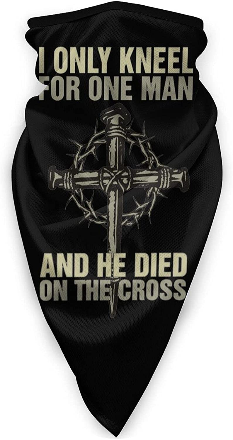 I Only Kneel for Jesus Neck Gaiter Bandnas Face Cover Uv Protection Prevent bask in Ice Triangle Scarf Headbands Perfect for Motorcycle Cycling Running Festival Raves Outdoors Black