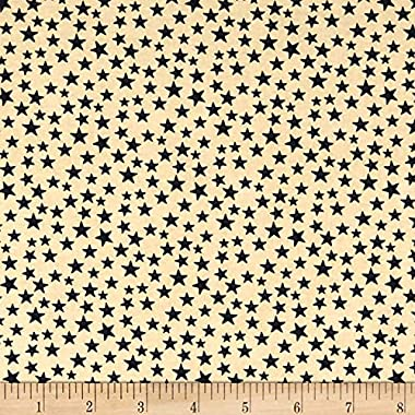 Santee Print Works Patriotic Quilt Backs Small Stars Fabric, Black/Antique, Fabric By The Yard