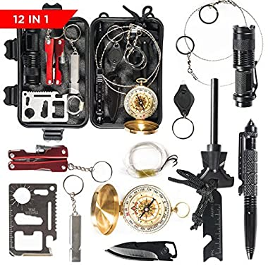 Patch-Up Survival Kit Contains 12 Lifesaving Emergency Tools for Home, Outdoors Hiking Camping Disaster Preparedness & Wilderness Adventures. Compact Shockproof & Waterproof Case