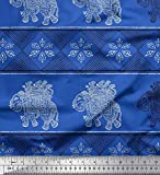Soimoi Blau Kunstseide Stoff Blumen & Elefant Block Stoff
