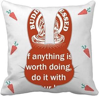 OFFbb-USA Word Value Devote Energy Rabbit - Funda cuadrada para almohada
