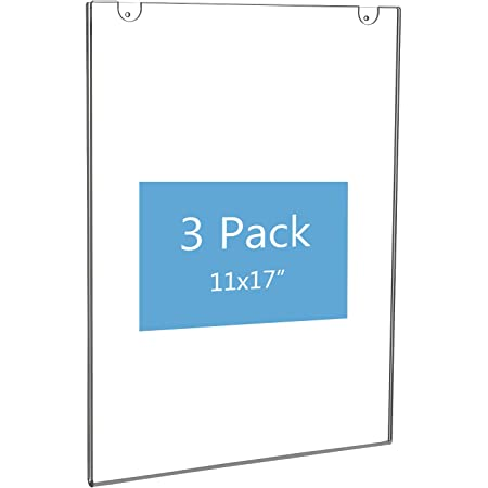 NIUBEE 11x17 Acrylic Wall Sign Holder Vertical, Clear Plastic Poster Frame for Paper, Bonus with 3M Tape and Mounting Screws(3 Pack)