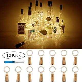 PCJHSP Wine Bottle Lights with Cork 12 Pack 15 LED Starry Fairy Lights Battery Operated Mini Copper Wire String Lights for Indoor and Outdoor Party Christmas Decoration Halloween Wedding-Warm White