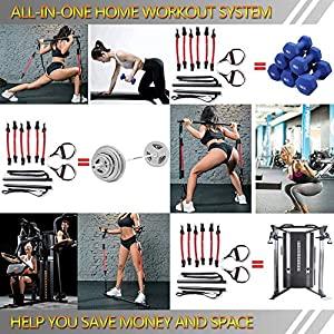 Portable Pilates Bar Kit,with 60-180 lbs Adjustable Resistance Bands,Anti-Break,Full Body Dynamic Home Strength Workout Equipment