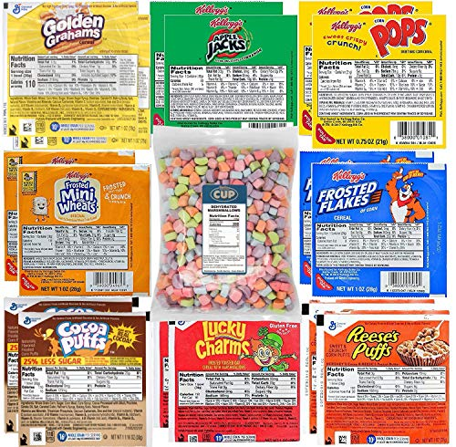 Kellogg's & General Mills Cereal Bowl Variety - Apple Jacks, Mini Wheats, Corn Pops, Special K, Frosted Flakes, Coco Puffs, Lucky Charms, Reese's Puffs + 1 Bag of Cereal Marshmallows