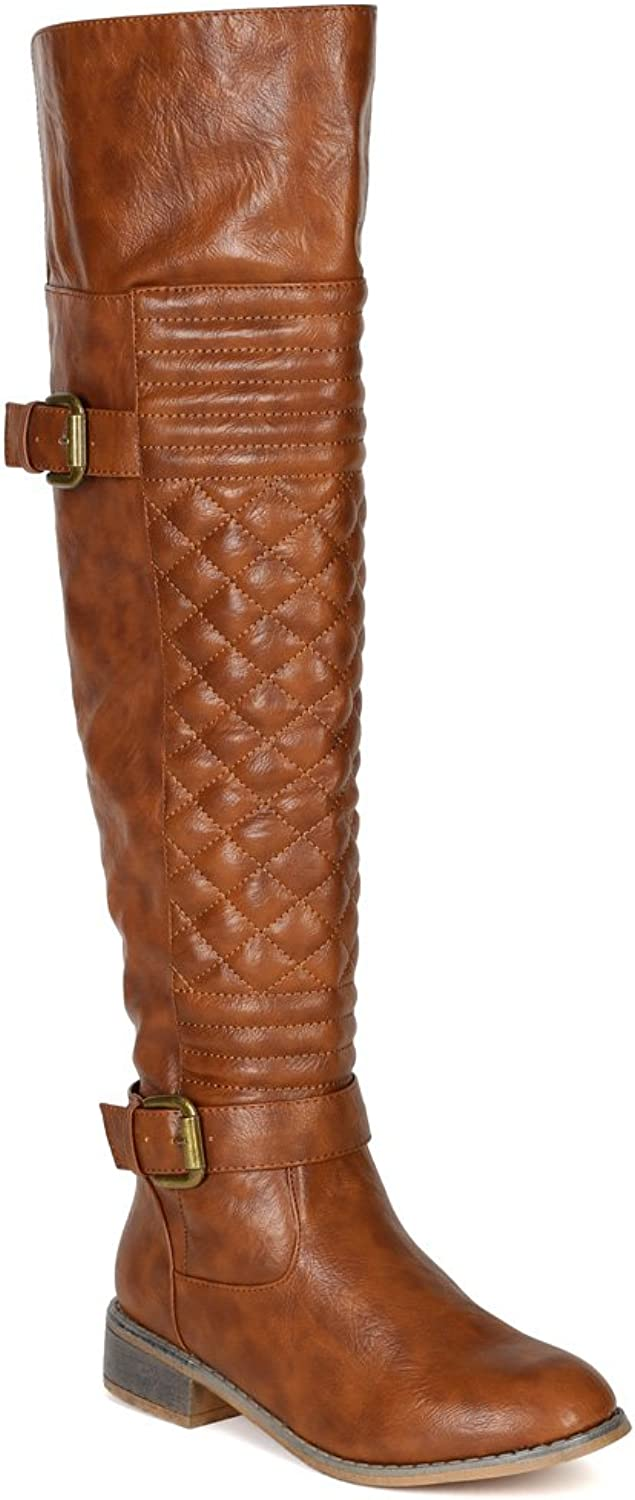 Nature Breeze BF20 Women Leatherette Quilted Knee High Riding Boot - Tan