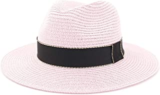 Straw Sun Hats for Women Trilby Summer Panama Hats with Wide Brim Beach Sun Hat Viseras Hoeden` TuanTuan (Color : Pink, Size : 56-58CM)