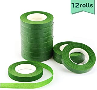 Nexxxi 12 Roll Floral Tapes, 1/2 by 30 Yards Dark Green Flower Stem Wrap Tape for Bouquet Stem Wrapping and Floral Crafts