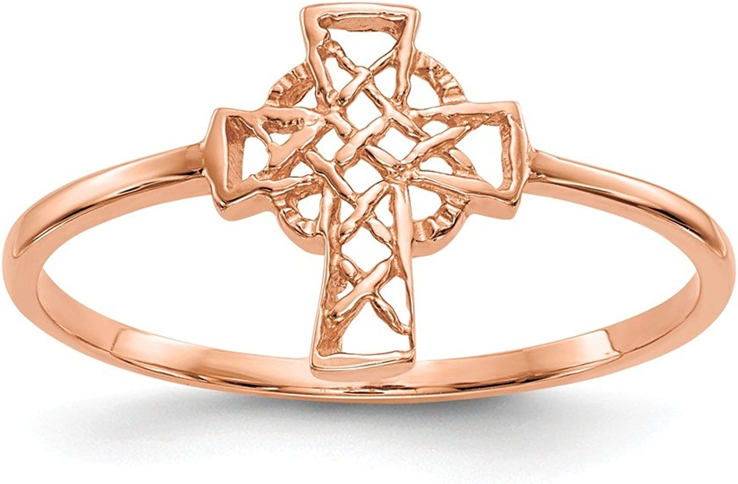 Beautiful pink gold 14K 14k pink gold Polished Celtic Cross Ring