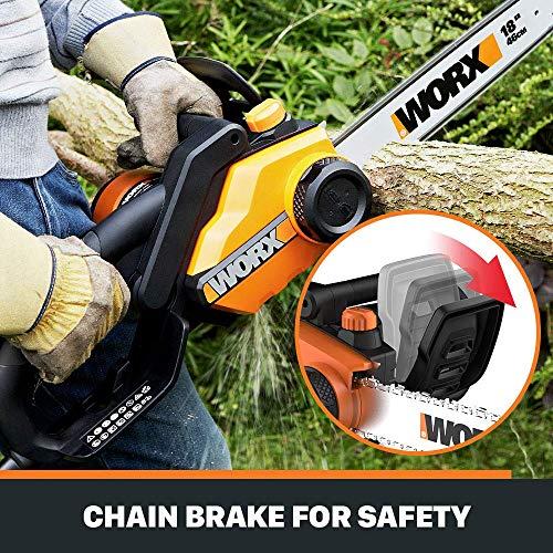 WORX WG304.2 Saw 18-Inch 15.0 Amp Electric Chainsaw with Auto-Tension, Chain Brake (Renewed)