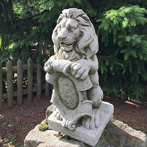 Antikas - Löwe mit Wappen - Figur Mauerpfeiler Skulpturen Garten Figuren Stein Wappenlöwe