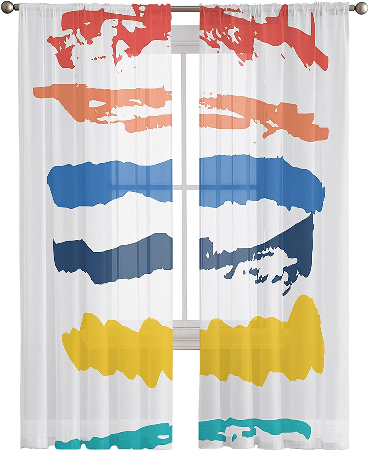 Kitchen Semi Large special price !! Sheer Window Curtain Colorfu Ranking TOP17 Inches 108 Panels Long