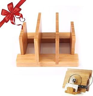 cuteadoy Natural Bamboo Cutting Board Rack, Kitchen Houseware Organizer Pantry Rack Skid Resistance for Cutting Board/Dish...