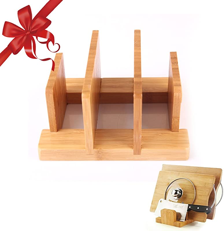 Cuteadoy Natural Bamboo Cutting Board Rack Kitchen Houseware Organizer Pantry Rack Skid Resistance For Cutting Board Dish Plate Pot Lid Book