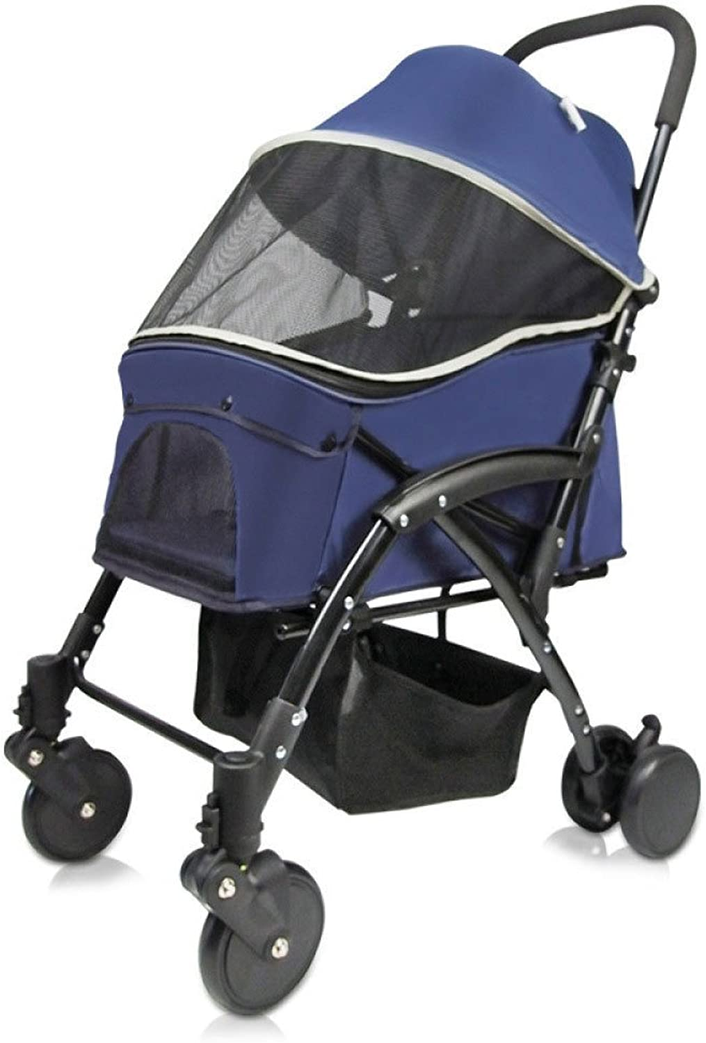 EDYUCGA Portable Folding Pet Trolley Dog Cat Stroller Fashion Fourwheeled Out,Navybluee