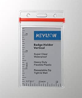 KEYLION Waterproof PVC ID Card Badge Holder with Red Tight Zipper, Clear, Vertical Style, Pack of 10