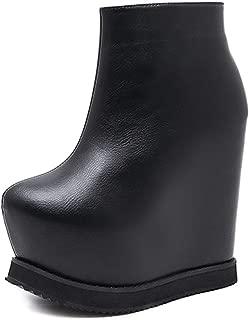 Ankle Boots for Women Black Platform Heel Leather Shoes Zipper Wedges Boots Black Autumn