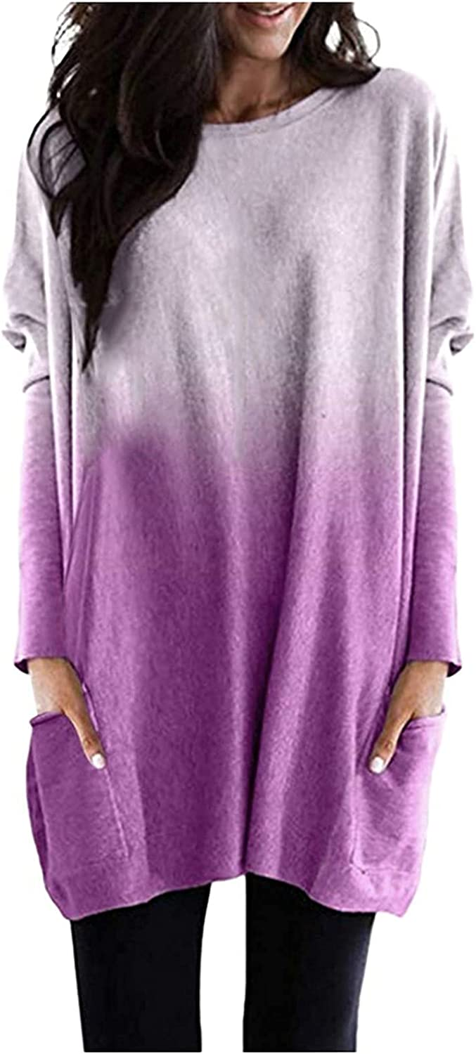 Long Tops to Wear with Leggings Gradient Oversized Shirts Crewneck Pocket Tunic Fall Comfy Blouse