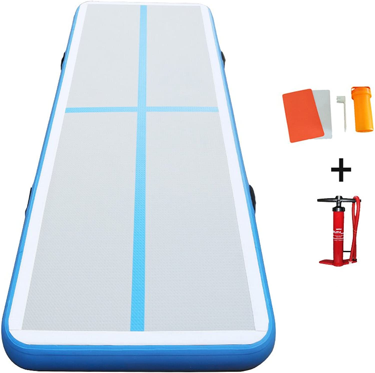 Darget Gymnastic Air Track Tumbling Mat with Free Pump for Home Use, Cheerleading, Water, Park and Beach