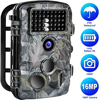 Trail Game Camera, 16MP 1080P Trail Camera IP66 Waterproof 42pcs IR LED Night Vision Hunting Scouting Cam Motion Activated with 120°Detecting Range for Outdoor Wildlife Watching