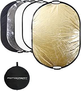 """FOTOCREAT 5-in-1 Oval 60""""×80""""(150×200cm) Professional Collapsible Multi-Disc Light Reflector with Handles with Translucent, Silver, Black, Gold, White Surface for Photography Photo Studio"""