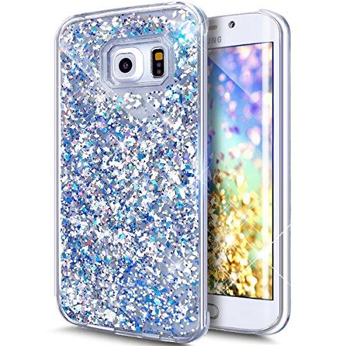 Kompatibel mit Galaxy S6 Hülle,Galaxy S6 Flüssig Hülle,Glitter Glänzend Bling Glitzer Diamond Diamant Fließen Treibsand Handyhülle Hülle Tasche Durchsichtige Schutzhülle für Galaxy S6,Silber