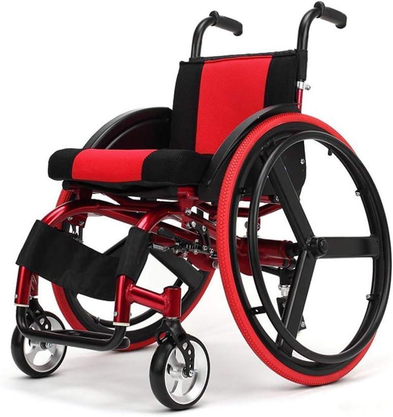 WEI-LUONG plegable Silla médica de rehabilitación, sillas de ruedas, silla de ruedas Luz médica ergonómico Ultralight Manual de ruedas 38cm Anchura del asiento desmontable-Ocio Deporte (rojo) Ligero