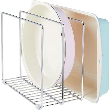 mDesign égouttoir en métal pour casseroles, poêles, plaques de pâtisserie etc. – range couvercle compact pour placard de cuisine – rangement cuisine peu encombrant pour ustensiles – argenté