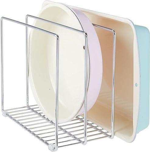 mDesign égouttoir en métal pour casseroles, poêles, plaques de pâtisserie etc. – range couvercle compact pour placard...