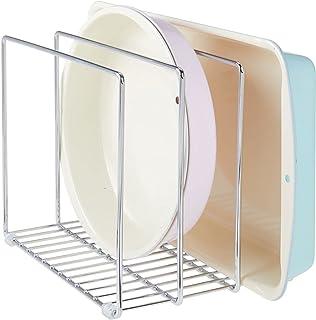 mDesign égouttoir en métal pour casseroles, poêles, plaques de pâtisserie etc. – range couvercle compact pour placard de c...