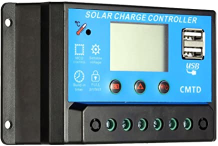 Anself 12.6V LCD Solar Charge Controller PWM Charging Regulator for Solar Panel Lithium Battery Lamp Overload Protection