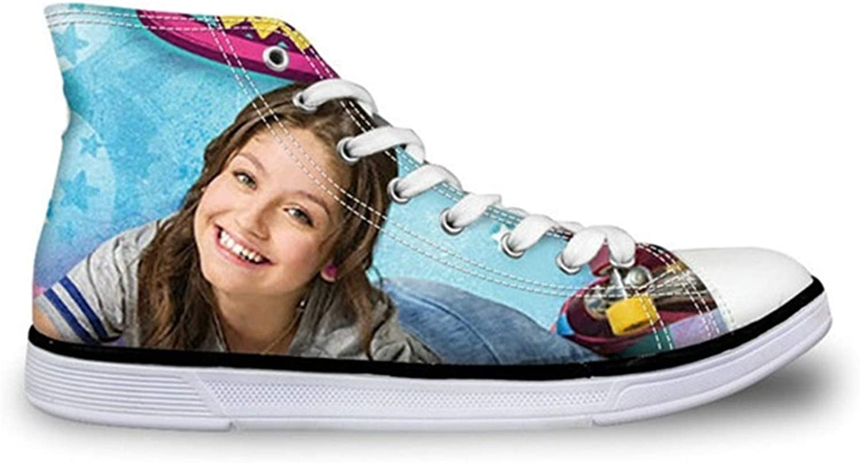 Dmoshibei Soy Luna Flats shoes Women's Vulcanie shoes Teen Girl Autumn Lace Up Sneakers 3D Soy Luna Print High Top Canvas shoes Y0568AK 40