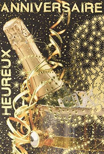 Wenskaart voor je bruiloft, 2 flessen, emmer, champagne, wijn, witte wijn, ster, goudkleurig, party, gemaakt in Frankrijk