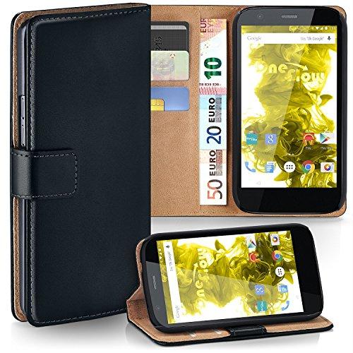 MoEx Premium Book-Case Handytasche kompatibel mit Motorola Moto G | Handyhülle mit Kartenfach und Ständer - 360 Grad Schutz Handy Tasche, Schwarz