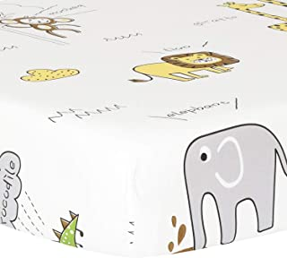 TILLYOU Ultra Soft Animals Crib Sheets Fitted, 100% Egyptian Cotton Toddler Sheets for Baby Boys Girls, Elephant Lions Giraffe Prints, Breathable Hypoallergenic Comfy, 28