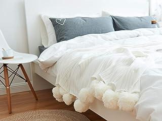 ZSKJ Manta de Aire Acondicionado de Punto Manta de Cuatro Estaciones Versión simplificada de Pera de The Ball Carpet Manta Decorativa nórdica en Manta de Punto (Blanco)