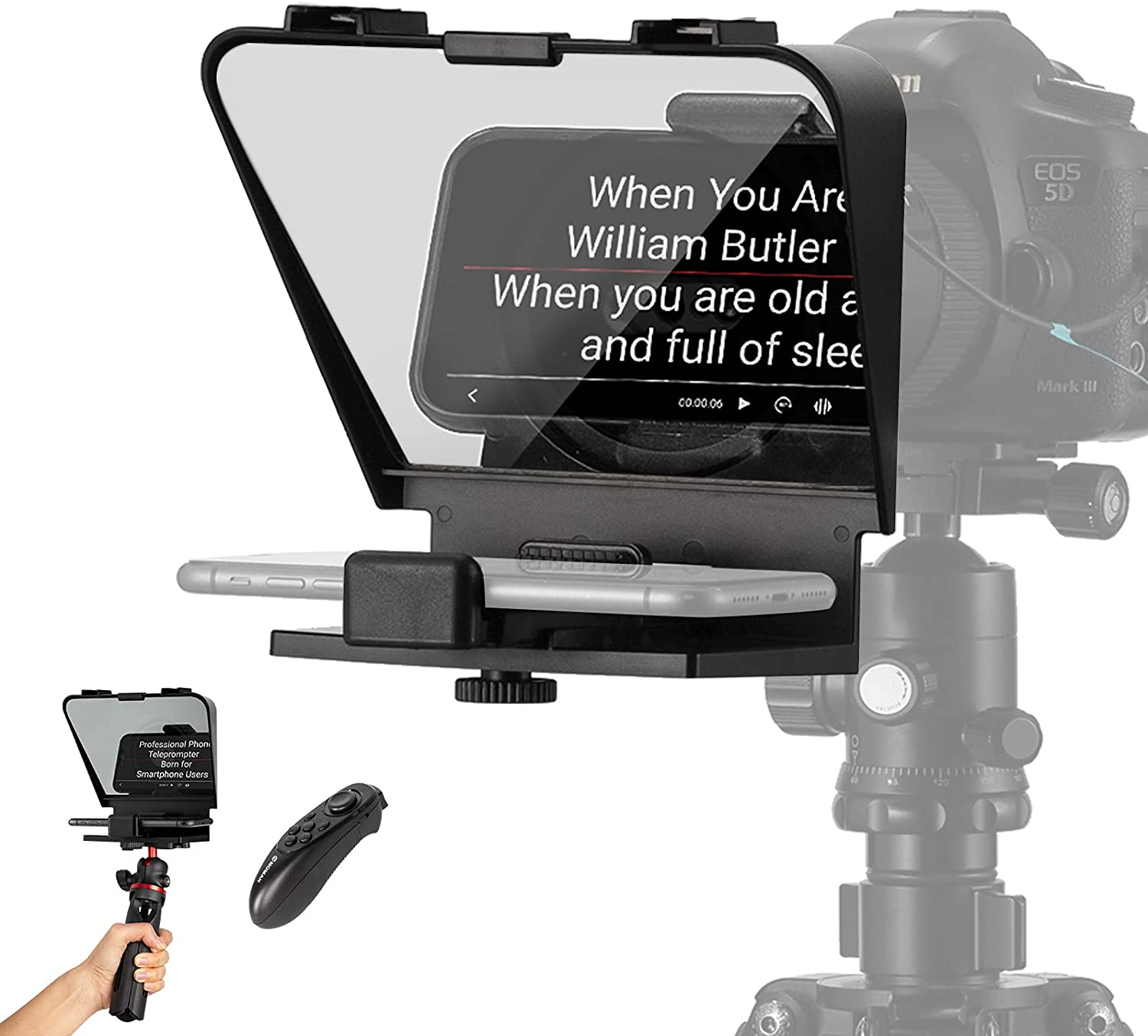 Smartphone Teleprompter Kit, MOMAN Portable Teleprompters for iPhone Huawei Phone DSLR Recording with 70/30 Beam Split Glass, Remote Control & Tripod Set, Moman-Smartphone-iPhone-Teleprompter-Kit