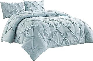 WPM 2 Piece Microfiber Comforter Set Pinch Pleat Pintuck Down Alternative Bedding - All Season Blue Bedroom Decor- JN1 (Bl...