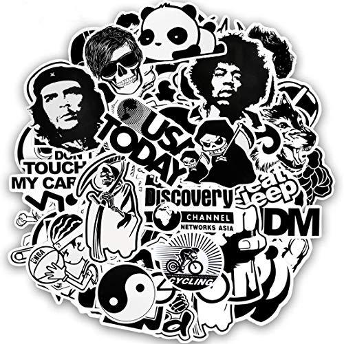 60STK Aufkleber Pack Schwarz und Weiß, Wasserdicht Vinyl Stickers Graffitti Comics Decals Für Laptop Auto Fahrrad Skateboard Gepäck, Kinder Jungen Erwachsene Spaß Coole DIY Stickers