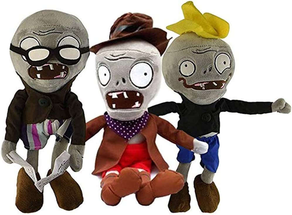 LZQ Plants Vs. Zombies 1 2 Stuffed Plush Toy Tall for Children, Geart Gift for Halloween, Christmas (Set of 3 Zombie B)