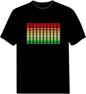 Pawant Adult Couples Audio Control LED Flashing Night Club Wear Cotton T-Shirt Dot Colors S