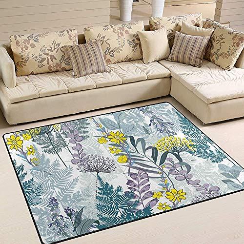Trista Bauer Retro Blooming Garden Flower Pattern Bereich Teppich, rutschfeste Teppichboden Türmatte 36x24 in
