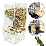 HHORD Acrilico Pet Pappagallo Uccellino Automatico Gabbia Alimentatore Formato Piccolo Singolo Tramoggia Animali Fornitura Accessori Uccelli Alimentatori,400G