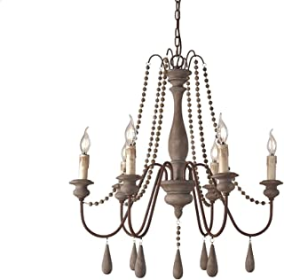 JinYuZe Ceiling Light Fixture,French Country Candle-Style Wood Bead Swag 1-Tier/2-Tier Wooden Chandelier,6 Lights,Gray
